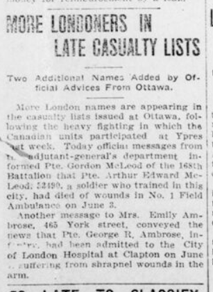 More Londoners in Late Casualty Lists Advertiser June 10 1916 Page 3