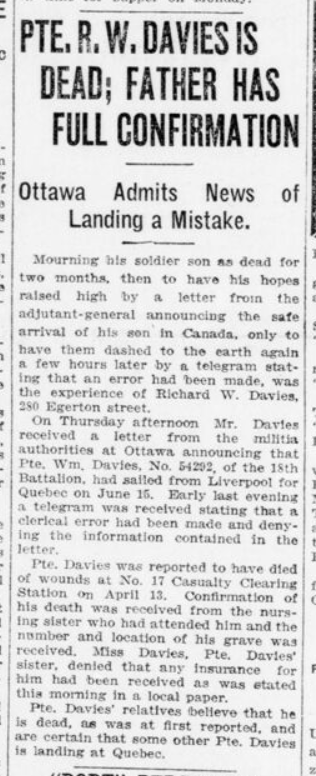 Pte R W Davies is Dead Father Has Full Confirmation London Advertiser June 30 1916 Page 3