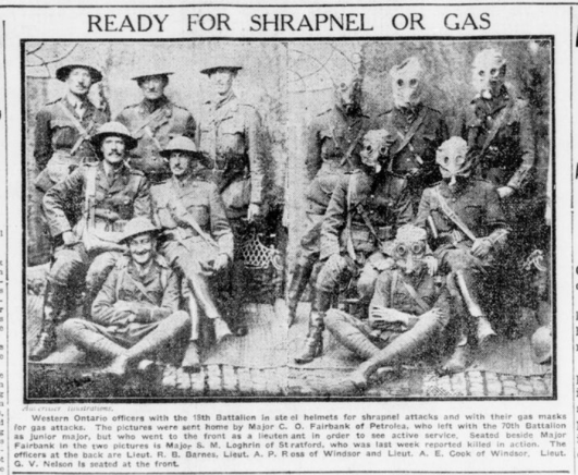 Ready for Shrapnel of Gas London Advertiser September 26 1916 Page 1
