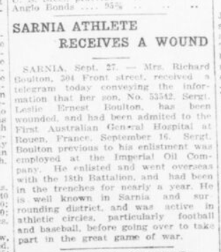 Sarnia Athlete Receives A Wound London Advertiser September 25 1916 Page 2