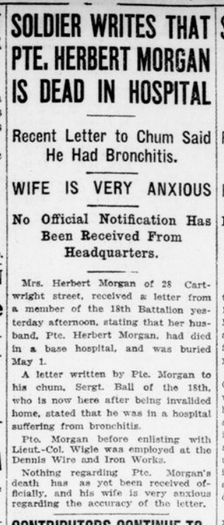 Soldier Writes That Pte Herbert Morgan is Dead in Hospital London Advertiser May 16 1916 Page 12