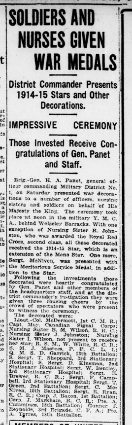 Soldiers and Nurses Given War Medals Advertiser February 2 1920 Page 2