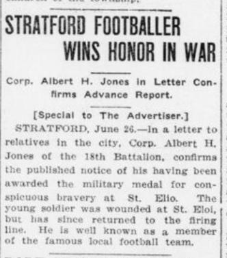 Stratford Footballer Wins Honor in War London Advertiser June 26 1916 Page 5