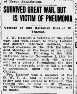 Survived Great War But is Victim of Pneumonih London Advertiser January 27 1920 Page 3