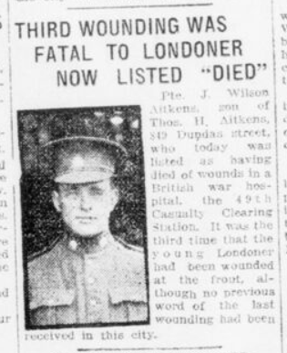 Third Wounding Was Fatal to Londoner Now Listed Died London Advertiser September 21 1916 Page 3