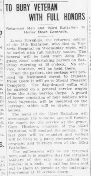 To Bury Veteran with Full Honors London Advertiser September 22 1916 Page 3