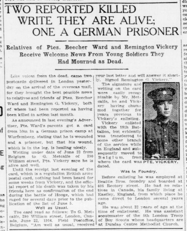 Two Reported Killed Write They Are Alive One a German Prisoner London Advertiser July 11 1916 Page 3