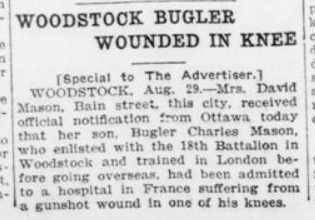 Woodstock Bugler Wounded in Knee London Advertiser August 30 1916 Page 2