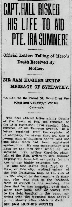 Capt. Hall Risked His Life to Save Sumner page 1 London Advertiser Fall 1915