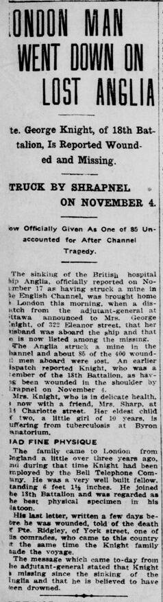George Ebenezer Knight Drowned London Free Press Circa October November 1915