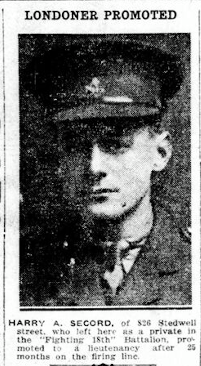 Harry A Secord Promoted London Free Press Circa 1914