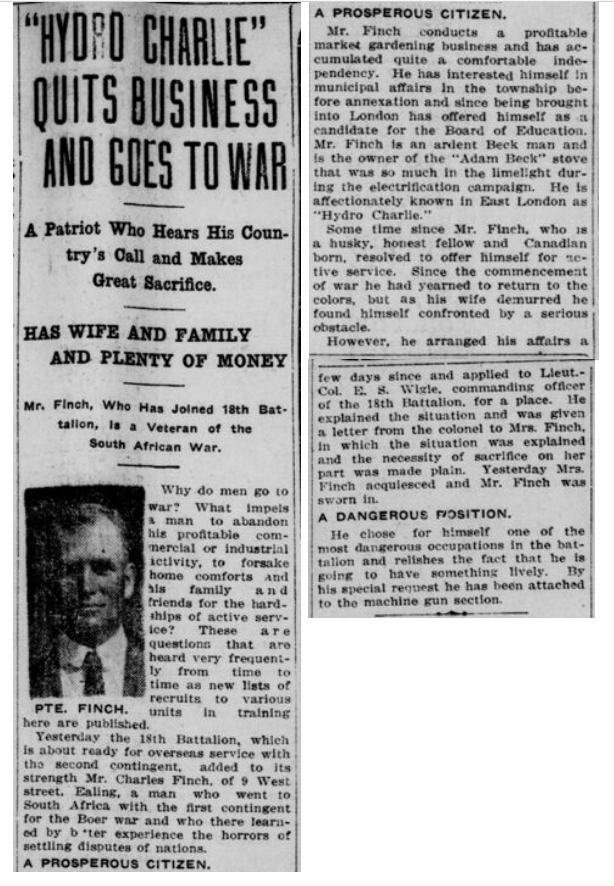 Hyrdor Charlie Quits Business and Goes to War London Free Press Fall 1915