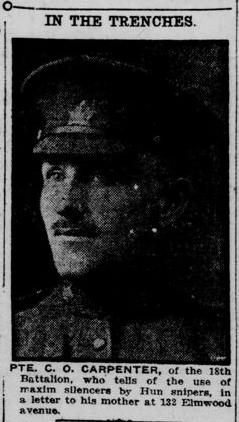 In The Trenches C.O. Carpenter London Free Press Circa Fall 1915