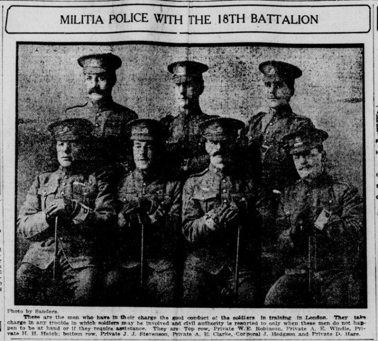 Military Police with 18th Battalion London Free Press December 1914