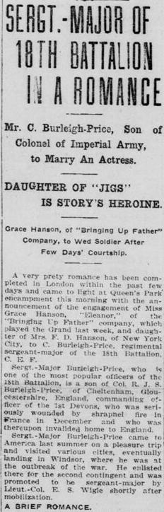 Sgt Major of 18th in Romance London Free Press 1915 Burliegh Price