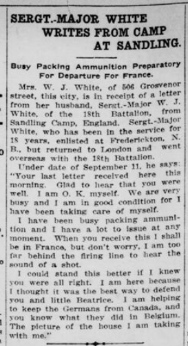 Sgt Major White Writes from Camp at Sandling London Free Press September 28 1915 Page 3