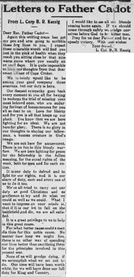 Bernard Rueben Keeshig from the Canadian Echo Feb 14th 1917 (Father Cadot was the priest at Cape Croker)