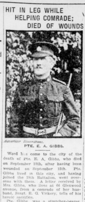 Hit in Leg While Helping Comrade Died of Wounds Part 1 London Advertiser November 11 1916 Page 2