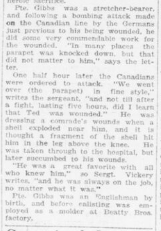 Hit in Leg While Helping Comrade Died of Wounds Part 2 London Advertiser November 11 1916 Page 2