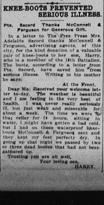 Secord Boots London Free Press June 21 1916 Page3