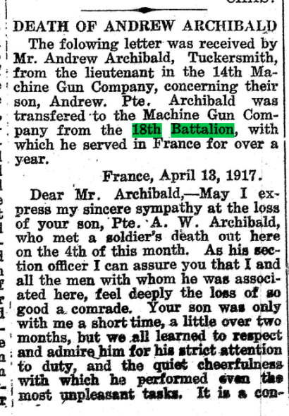 Death of Andrew Archibald No 1 Huron Expositor May 11 1917 Page 1