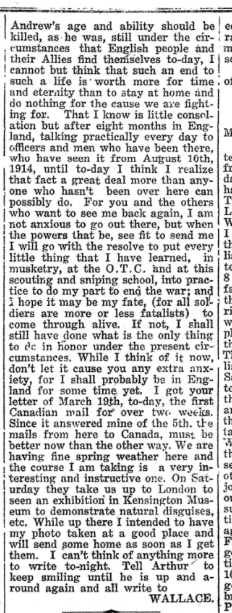 From Lieut S W Archibald No 2 Huron Expositor May 11 1917 Page 1