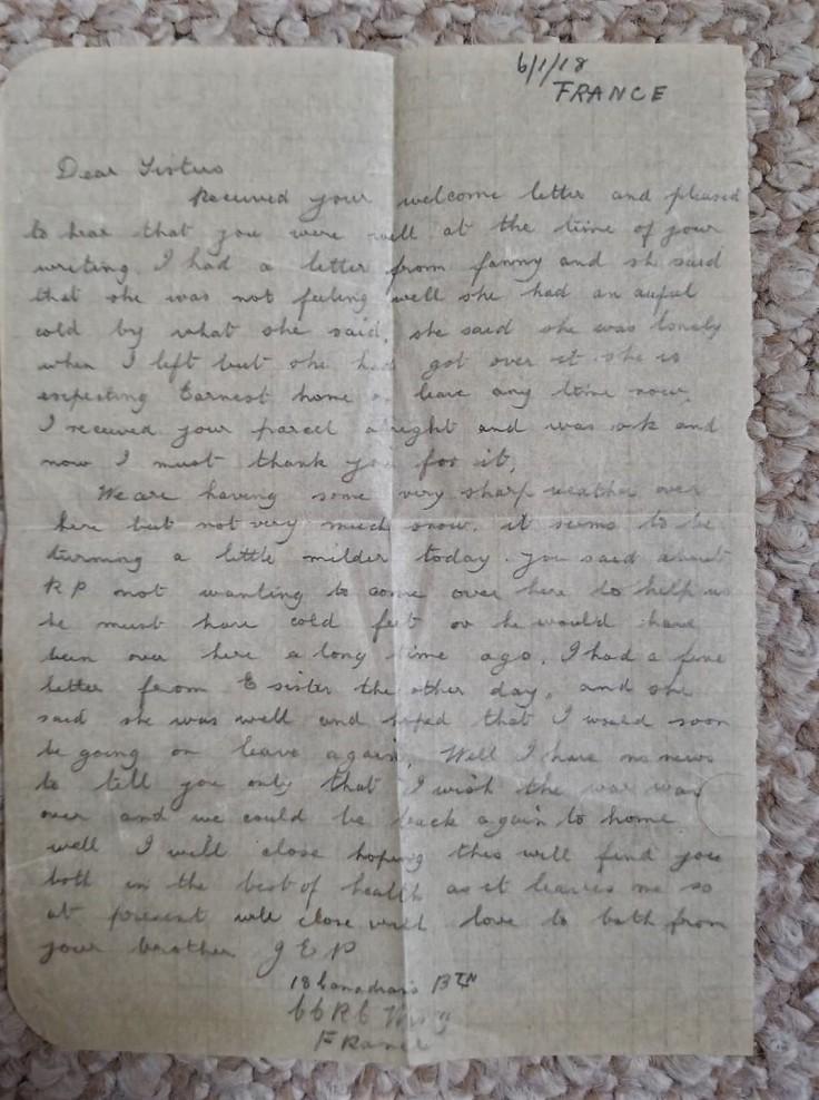 January 6 1918 Letter