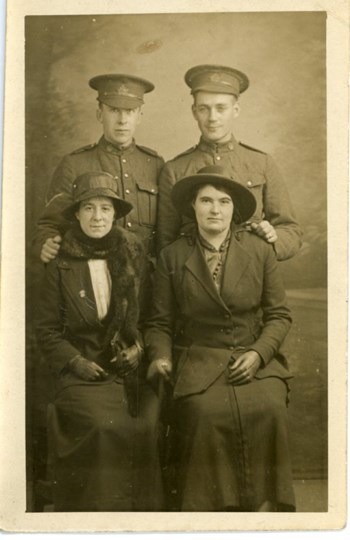 A2009.202.047a L. Corp. Ed Zimmerman, Chas Reed, two girls from Glasgow, Nov 11, 1916-0FF618A7FA0AA8AF6434ADC0C
