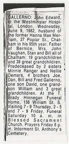 844485 John Edward Galerno 1889 - 1982 Obituary
