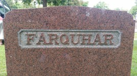 FARQUHAR (back of Joseph and Margaret Farquhar marker in Elora, Ontario, Canada)
