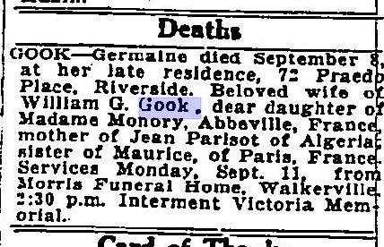Deaths Obit of WG Gook Wife The Border Cities Star September 9 1932 Page 26