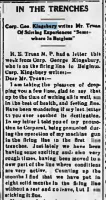 In the Trenches re. Kingsbury Walkerton Telescope June 8 1916 Page 1 Part 1