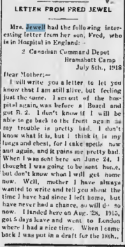 Letter from Fred Jewll Walkerton Telescope Fred Jewell August 1 1918 Page 2 Part 1