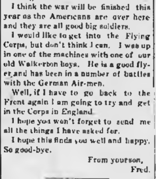 Letter from Fred Jewll Walkerton Telescope Fred Jewell August 1 1918 Page 2 Part 3
