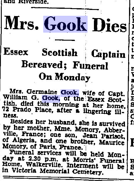 Mrs Gook Dies The Border Cities Star September 5 1933 Page 6