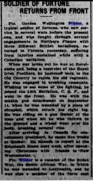 News clipping. The Daily Colonist. December 25, 1915. Page 7. Part 1.