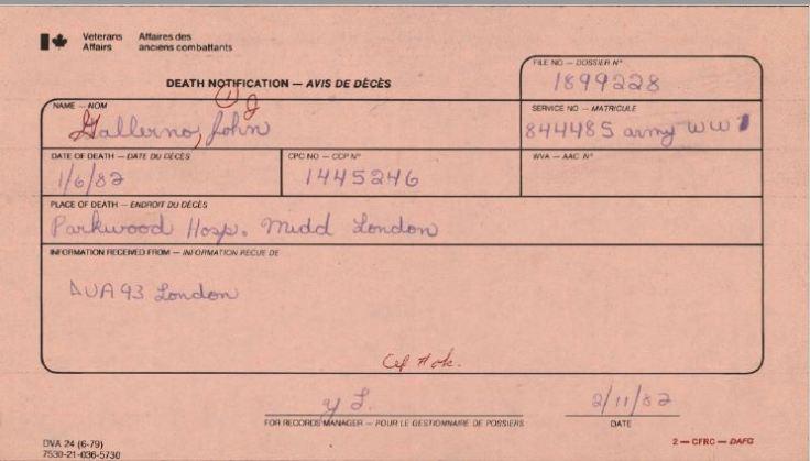 Veterans Affairs Death Notification