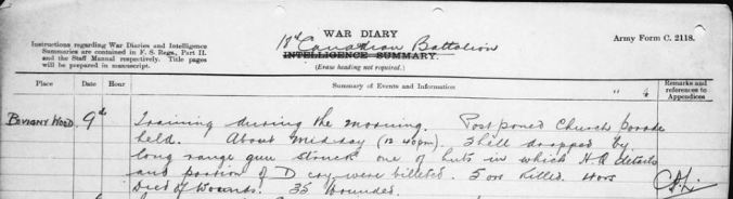 18th Battalion entry for July 9, 1917 relating the incident