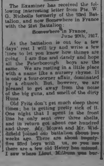 Letter by Pte WG Nicholls 21st Bn mentions Eastwood of 18th Peterborough Examiner July 24 1917 Page 1 Part 1