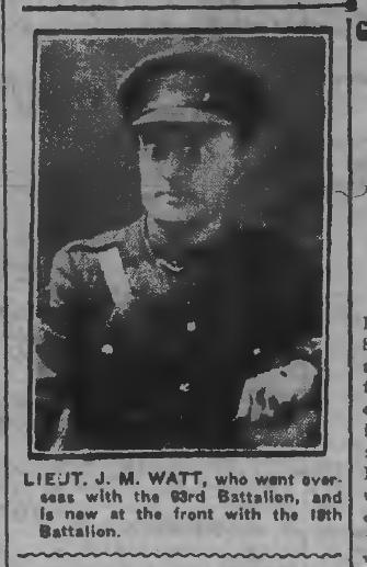 Lt JM Watt Peterborough Evening Examiner February 27 1917 Page 1