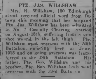 Pte Jas Willshar Peterborough Examiner August 27 1917 Page 7