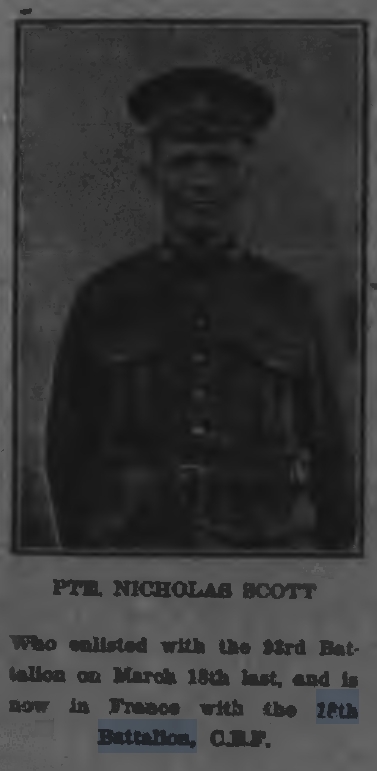 Pte Nicholass Scott Peterborough Evening Examiner, Illustrated Section. January 23, 1917. Page 4.
