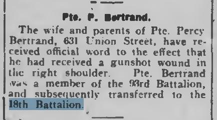 Pte P Betrand P E March 23 1917 Page 1