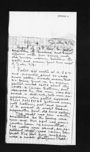Report of Patrol. 4th Canadian Infantry Battalion. Appendix 4. July 1916 War Diary.