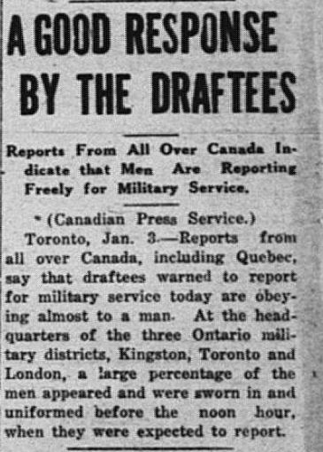 A Good Response to Draftees Daily Sentinel Review January 3 1918 page 1